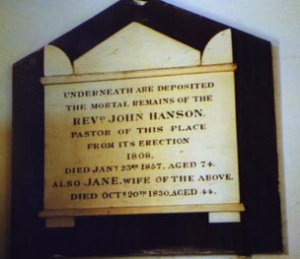 Memorial to Rev Hanson